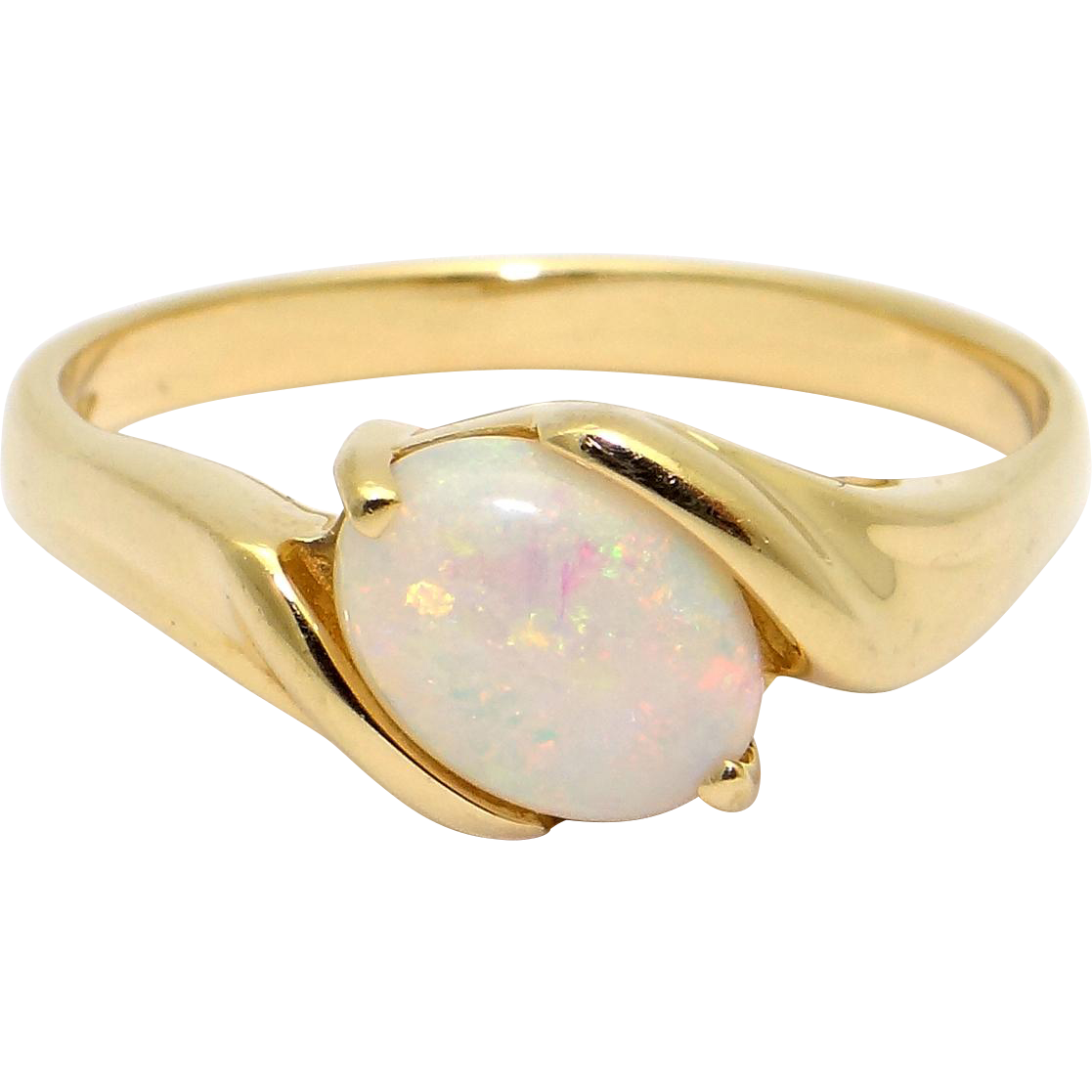 14k yellow gold 75ct multi color opal solitaire band ring