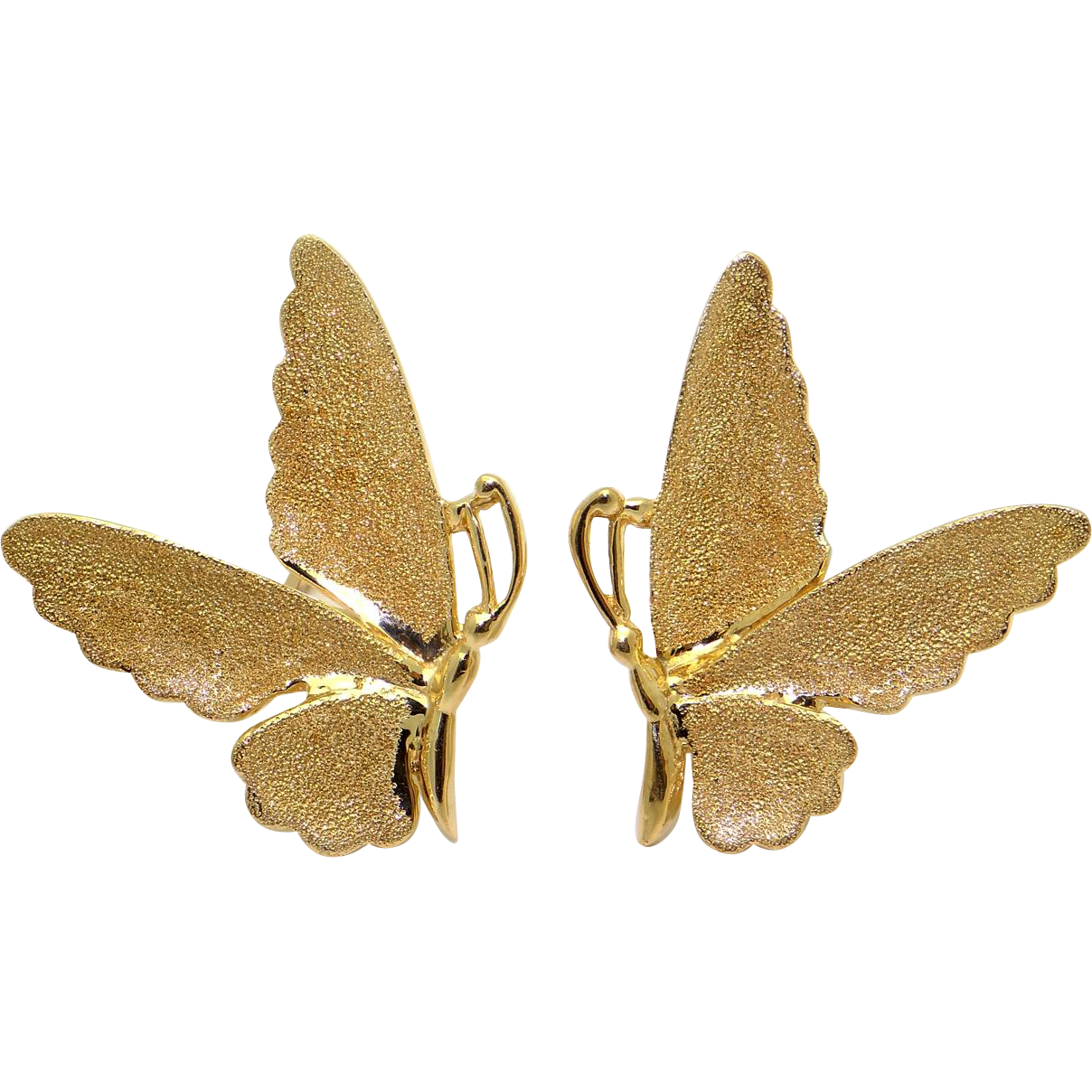 unique 14k yellow gold butterfly stud earrings from
