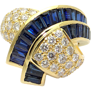 Vintage Charles Krypell 18k Yellow Gold 4ct Sapphire Diamond Right Hand Band Ring Size 6