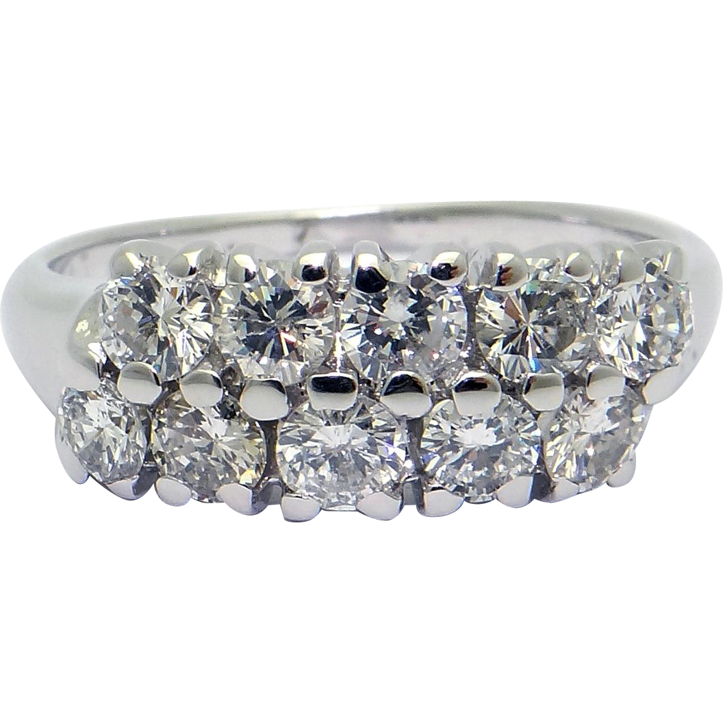 Miadora signature collection 14k white gold 1ct tdw diamond double row - Twobirch 10k Gold 1 2ct Tdw Diamond Double Row Chevron Style Ring