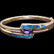 Amazing 14k Yellow Gold 2.43ct Oval Cut Tanzanite & Round Cut Diamond Opal Tennis Bangle Bracelet