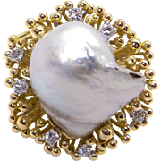 Breathtaking 14k Yellow Gold 17mm South Sea Baroque Cultured Pearl & Round Cut Diamond Cluster Cocktail Ring Size 6.5