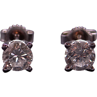 14k White Gold 1ct Round Brilliant Cut Diamond Stud Earrings