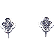 14k White Gold Round Diamond Flower Snowflake Cluster  Stud Earrings Non Pierced