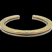 Vintage Georg Jensen Sterling Silver 18k Yellow Gold Bangle Cuff Bracelet A78AG