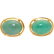 14k Yellow Gold Cabochon Green Jade Cufflinks Cuff Link Shirt Studs