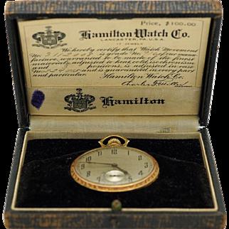 Hamilton 17 Jewel 14k Yellow Gold Open Face Stem Wind Pocket Watch 916 Box COA
