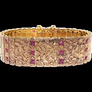 Retro 19k Yellow Gold 1.50ct Round Ruby 20mm Wide Flower Link Cuff Bracelet