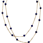 Vintage Estate 14k Yellow Gold 5mm Blue Lapis Bead Link Chain Tennis Necklace 30 inch