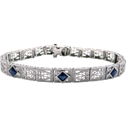 Art Deco 14k White Gold .60ct French Princess Cut Sapphire Filigree Bracelet 6.75""