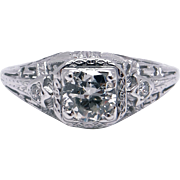 Art Deco 18k White Gold .55ct Round European Cut Diamond Engagement Promise Ring