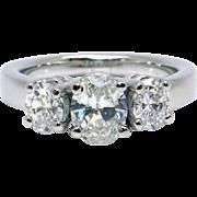 Classic Platinum Past Present Future 1.50ct Oval Cut Diamond Three Stone Engagement Anniversary Ring