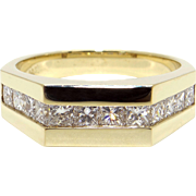 Mens 14k Yellow Gold 1ct Princess Cut Diamond 7mm Wedding Band Ring Size 11.75