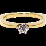 Amazing 18k Yellow Gold .25ct Round Cut Diamond Engagement Promise Ring
