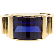 Mens 10k Yellow Gold 2ct Synthetic Sapphire Band Ring Size 10