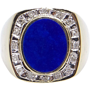 Vintage Mens 14k Yellow Gold .16ct Round Diamond Lapis Band Ring Size 8.25