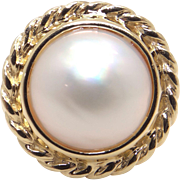 10k Yellow Gold 13mm Cultured Mabe Pearl Ring Size 8