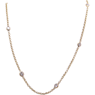 Stunning 14k Yellow Gold .75ct Round Cut Diamond by Yard Tennis Bezel Necklace 15 inch