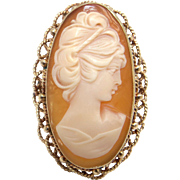 Large Vintage Estate 14k Yellow Gold Oval Shaped Carved Shell Cameo Ring Size 8
