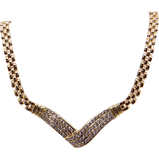 "Fantastic 14k Yellow Gold 2ct Round Cut Diamond ""V"" Cluster Chain Necklace 18 inch"