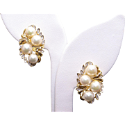 14k Yellow Gold Round White 6mm Cultured Pearl & .14ct Round Diamond Cluster Earrings with Omega Backs