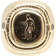 Men's Raafty 14k Yellow Gold .10ct Round Diamond Carved Cameo Band Ring size 7
