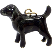 Vintage 14k Yellow Gold Enamel Black Labrador Retriever Dog Puppy Charm Pendant