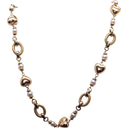 14k Yellow Gold 5mm Cultured Pearl Heart Bead Link Chain Necklace 16 inch