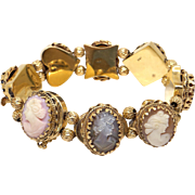 Vintage 14k Yellow Gold Carved Multi Stone Shell Cameo Intaglio Slide Bracelet