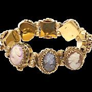 Vintage 14k Yellow Gold Carved Multi Stone Shell Cameo Intaglio Slide Bracelet