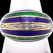 Vintage Estate 18k Yellow Gold Round Diamond Multi Color Blue Green Enamel Dome Band Ring Size 6