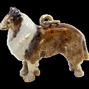 Amazing Vintage 14k Yellow Gold Enamel Rough Collie Dog Puppy Charm Pendant