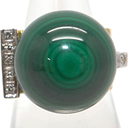 Retro 14k Yellow Gold Green Malachite Bead Ball Diamond Ring Size 6.5