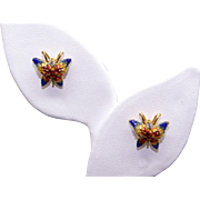 18k Yellow Gold .06ct Round Diamond Multi Color Enamel Butterfly Stud Earrings