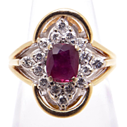 14k Yellow White Gold .85ct Oval Cut Ruby Diamond Cluster Ring Size 3.75