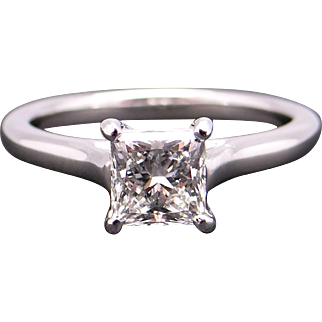 Breathtaking GIA Certified Platinum 1.06ct Princess Cut Diamond Solitaire Engagement Ring Size 6.25