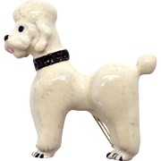 Vintage Sterling Silver White Enamel Poodle Dog Puppy Brooch Pin