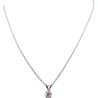 14k White Gold .65ct Round Brilliant Cut Diamond Solitaire Pendant Necklace 18 inch