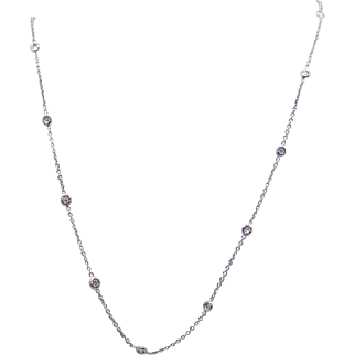 Dazzling 18k White Gold .40ct Round Cut Diamond by Yard Tennis Bezel Necklace 17 inch