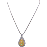 Exceptional 14k White Gold 9ct Multi Color Cabochon Opal Diamond Pendant Necklace 18 inch
