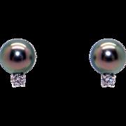 Beautiful Mikimoto 18k White Gold Black South Sea 9mm Cultured Pearl & Diamond Stud Earrings