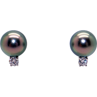 Beautiful Mikimoto 18k White Gold Black South Sea 9mm Cultured Pearl & Diamond Stud Earrings