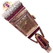 Retro 14k Rose Gold 1.32ct Ruby Diamond Hopton Bracelet Watch