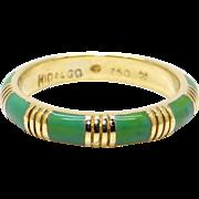 Vintage Hidalgo 18k Yellow Gold Turquoise Blue Green Enamel Stack Band Ring Size 6