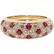 18k Yellow Gold 1.20ct Round Cut Ruby Diamond Pave 7mm Dome Band Ring