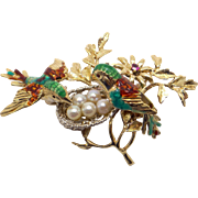 Retro 18k Yellow White Gold Multi Color Enamel Cultured Pearl Bird Nest Nesting Egg Brooch Pin