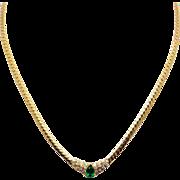 "Vintage 18k Yellow Gold 1ct Pear Shape Emerald Diamond Cluster Pendant Necklace 16.5"""