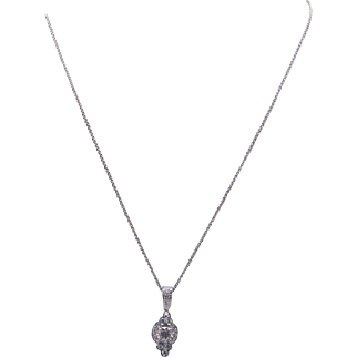 Charles Krypell Platinum 18k White Gold .73ct Round Diamond Cluster Pendant Necklace
