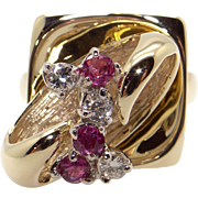 Fantastic 14k Yellow Gold .30ct Round Cut Ruby Diamond Moveable Spinner Cluster Ring