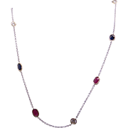 """Incredible 14k White Gold 3.25ct Ruby Sapphire Diamond By Yard Link Chain Necklace 22"""""""